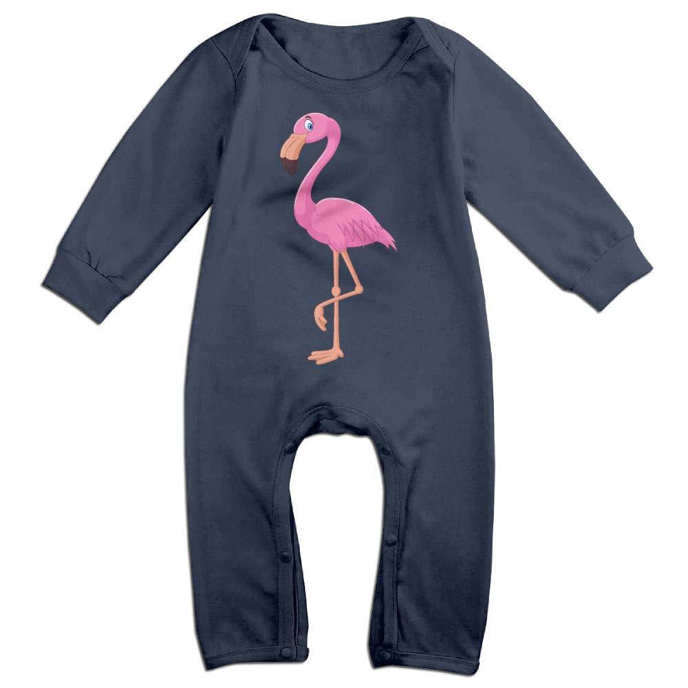 Mri-le1 Baby Boy Long Sleeved Coveralls Flamingo Pink Kid Pajamas