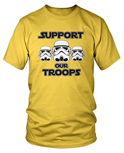 Amdesco Men's Support Our Troops, Stormtrooper T-Shirt, Yellow (Troops Yellow T-shirt)