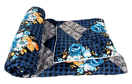 Trendz Home Furnishing Reversible Double Bed King Size Floral Print Comforter/Duvet for Winters and Mild Winter; Color - Royal Blue and White; Fabric - Microfiber Cotton; 120 GSM; Size - 220X240 Cms