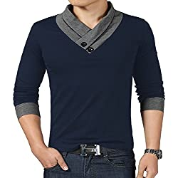 YTD 100% Cotton Mens Casual V-neck Button Slim Muscle Tops Tee Short Sleeve T- Shirts (US Large, Long Sleeve Navy)