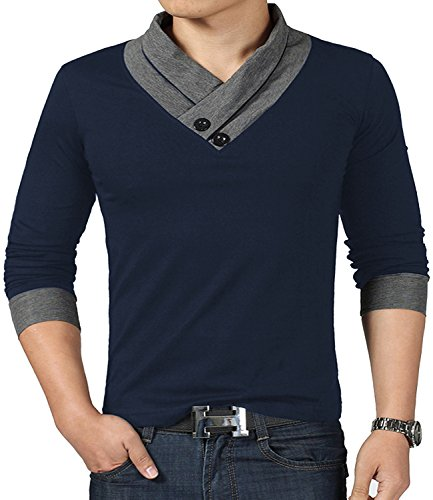 Cotton Muscle Shirt (YTD 100% Cotton Mens Casual V-Neck Button Slim Muscle Tops Tee Short Sleeve T- Shirts (US Small, Long Sleeve Navy))