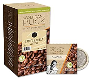Wolfgang Puck Coffee, French Vanilla Flavored, 9.5 Gram Pods, 18-Count (Pack of 3)