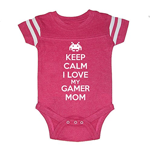 LOL Baby! I Love My Gamer Mom Baby Football Jersey Bodysuit (Vintage Hot Pink, 6 Months)