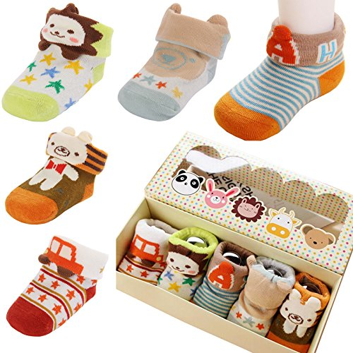 Image result for Fly-love® 5pairs Animal Non-Skid Slip Toddler Socks Cotton Unisex Baby Crew Sock 0-18 months With Box