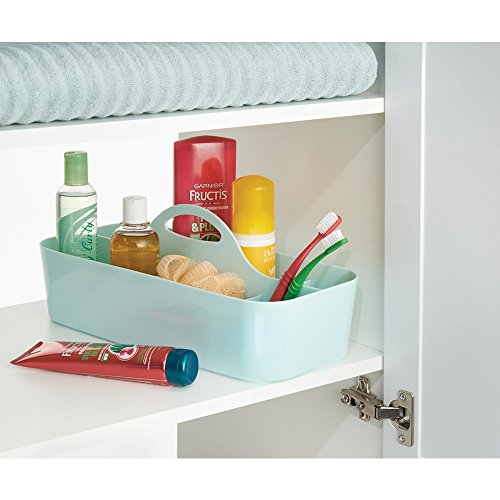 InterDesign Clarity Cosmetic Organizer Tote for Vanity Cabinet to Hold Makeup, Beauty Products - Mint