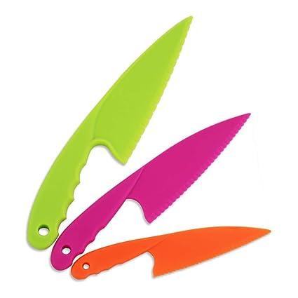Smallones 3 piezas cuchillo de cocina niños vistoso seguro el plastico cuchillo para el pan cuchillo de vegetales