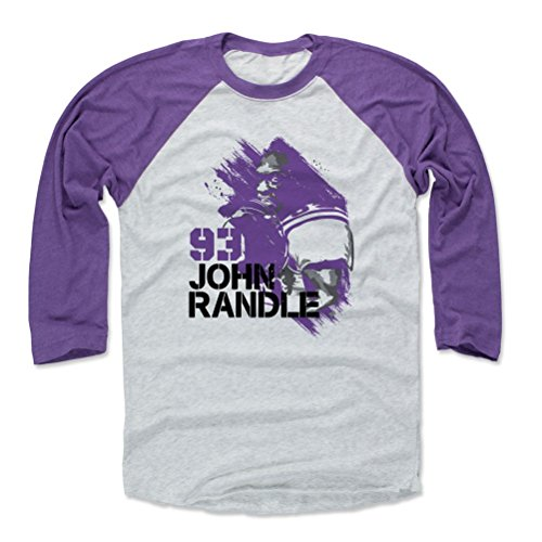 - 500 LEVEL John Randle Baseball Tee Shirt X-Large Purple/Ash - Vintage Minnesota Football Raglan Shirt - John Randle Paint P