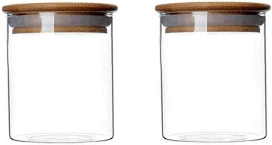 2 Piece Clear Glass Canister Food Storage Jar With Airtight Wood Lids Air Tight Storage Containers for Coffee Bean Loose Leaf Tea Containers Sugar Cookies Dry Fruit Nuts Candy Jars size 250ML/8.5oz