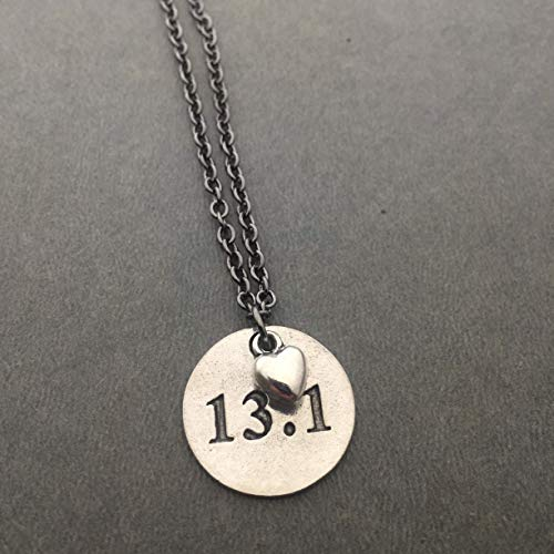 13.1 Love Half Marathon Necklace - Pewter Heart and Pewter Round 13.1 Pendant on 18 inch Gunmetal Chain (Necklace Marathon)