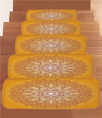 - SoSung Yellow Mandala Coral Fleece Stair Treads,Stair Tread Mats,Delicate Arabic Ethnic Mehndi Style Authentic Festive Composition,(Set of 5) 8.6
