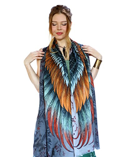 Painted Printed Copper Feathers Womens