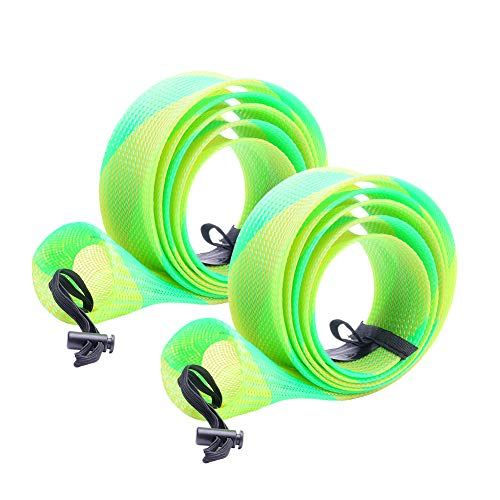 - SF Standard Spinning Rod Sock Fishing Rod Sleeve Rod Cover Braided Mesh Rod Protector Pole Gloves Fishing Tools for Spinning Fishing Rod (New Green/Gold/2PCS)