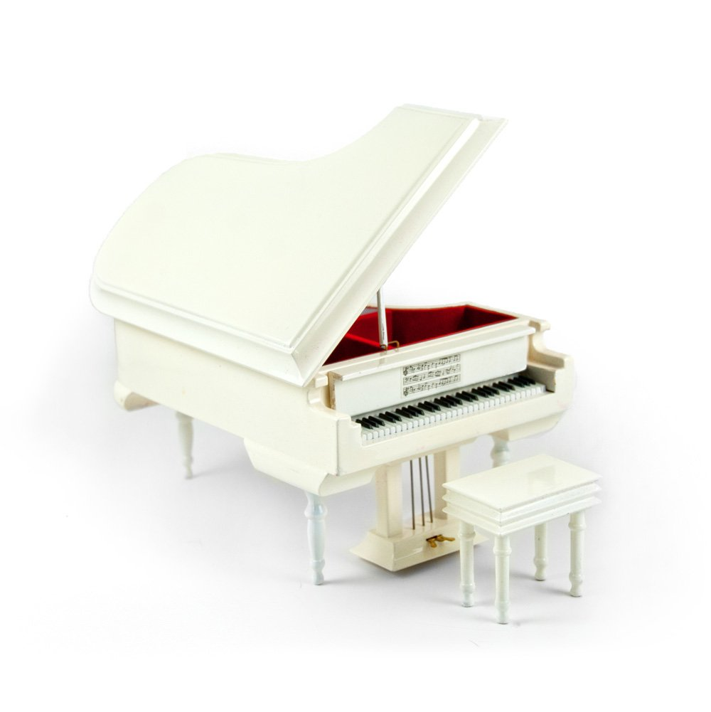 Sophisticated 18 Note Miniature Musical Hi-Gloss White Grand Piano with Bench - Dance of the Sugar Plum Fairy (Nutcracker Suite)