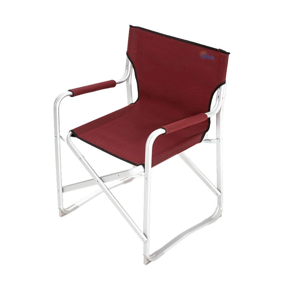 Outdoor Folding Chair with Backrest with Armrests Aluminum Alloy Lightweight Portable Multi-Purpose Camping Picnic Travel Fishing Mountaineering Barbecue Outdoor Red/Green (Color : Red)