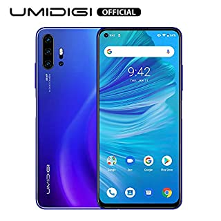 Unlocked Smart Phone 2020, UMIDIGI F2 Side Fingerprint 48MP AI Quad Camera, 6.53'' FHD+ Smartphone 5150mAh RAM 6G ROM 128GB Fast Charging, Android 10 NFC,Blue