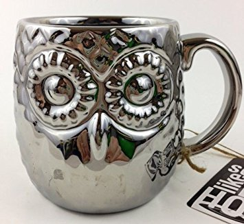 Beautiful Silver Owl Deluxe Figural Shaped Mug 16 oz ()