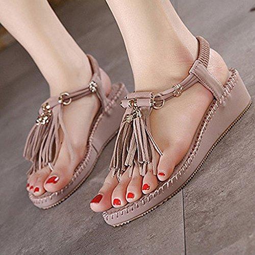 Minetom Damen Sommer Sandalen Koreanisch Stil Muffin Sandalen Mit Quaste Mode Neu Schuhe Lila