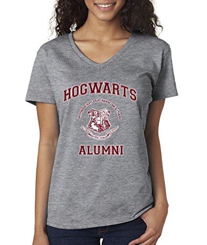 New Way 129 - Women's V-Neck T-Shirt Hogwarts Alumni Harry Potter School Large Heather Grey (Tee Alumni)