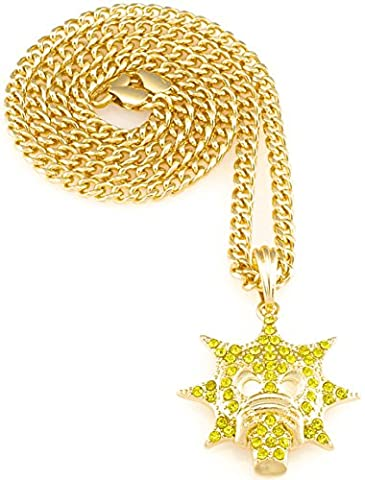Gang New Necklace Gold Color Iced Out Pendant 24 Inch Cuban Style Chain (Chief Keef Pendant)