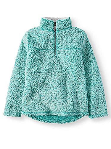 Wonder Nation Girls Quarter Zip Sherpa Pullover (Medium 7/8, Aqua ()