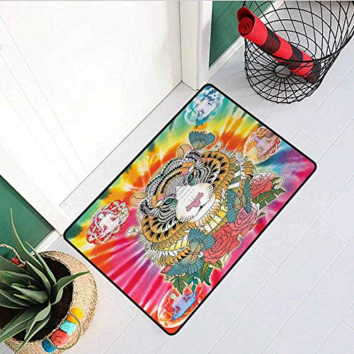 (Animal Welcome Door mat Tiger Head with Ornaments Butterflies and Roses Human Figures Lotus Position Globes Door mat is odorless and Durable W23.6 x L35.4 Inch Multicolor)