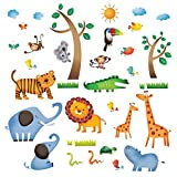 Decowall DW-1206 Wild Jungle Animals Kids Wall Decals Wall Stickers Peel and Stick Removable Wall Stickers for Kids Nursery Bedroom Living Room