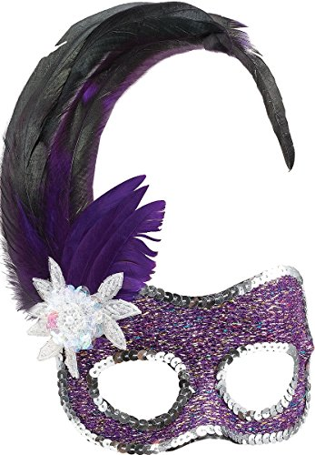 Purple Face Mask/silver Sequins
