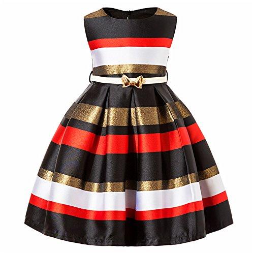 Doris Batchelor Elegant Kids Girls Princess Dress Summer Baby Girls Striped Wedding Dress Infant Party Dresses Black 7 -