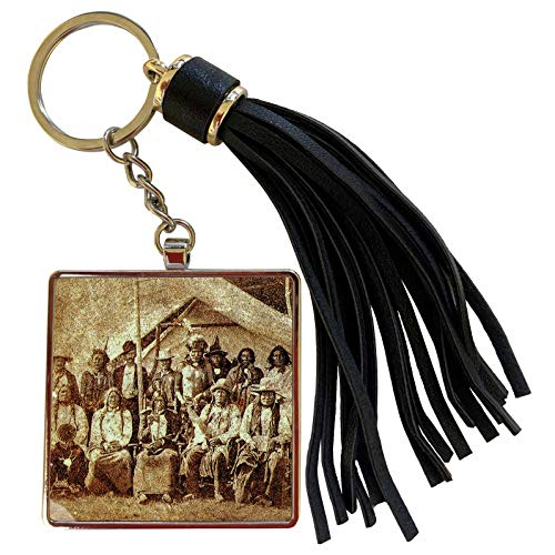 3dRose Scenes from the Past - Stereoview - Late 1800s Native American Indians Sioux Tribal Members - Tassel Key Chain (tkc_300299_1)