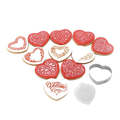 Valentine Cookie Decorating Stencil and Cutter Set, 11-Pieces Cookie Stencils for Royal Icing, 1-Piece Love Heart Cookie Cutter(Valentines Day)
