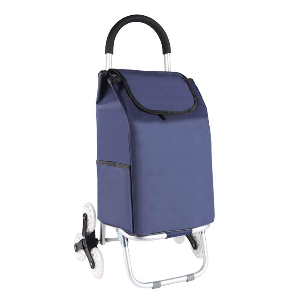 ZHAOHUI ショッピングカート アルミニウム合金 折りたたみ可能 オックスフォード布 PUクリスタルホイール 防水 クライミングビルディング 耐摩耗性、 3色 (Color : Blue) B07LD9LTG4 Blue