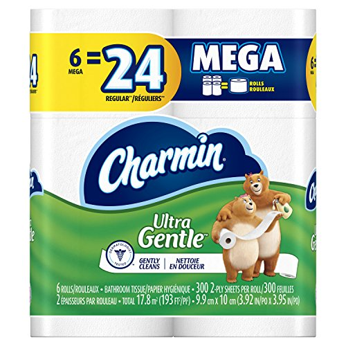 Skin Tissue - Charmin Ultra Gentle Toilet Paper 6 Mega Rolls (Pack of 3)
