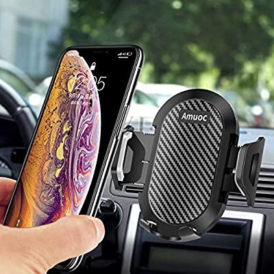 Amuoc Car Mount, Car Phone Mount Silicone Car Pad Mat for Various Dashboards, Anti-Slip Desk Phone Stand Compatible with iPhone, Samsung, Android Smartphones, GPS Devices and More- (Gray Black)