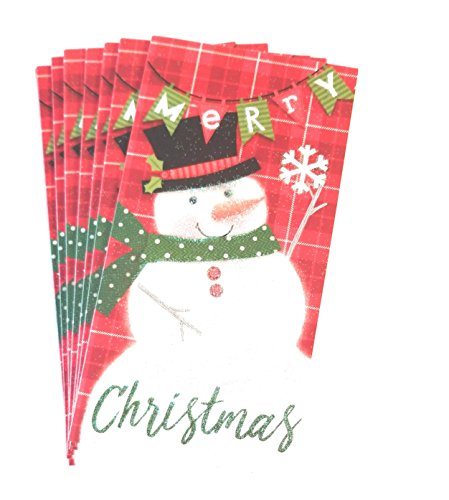 Christmas Money or Gift Card Holder Cards - Set of 8 with Metallic/Glitter Accents (Snowman)