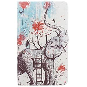 LZX Elephant and Girls Pattern PU Leather Full Body Case with Card for Samsung Tab 4 7.0 T230