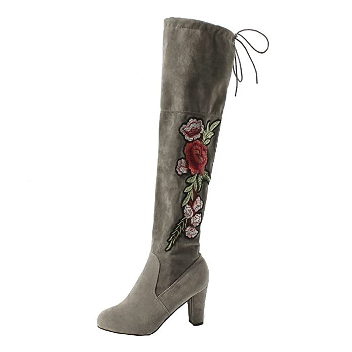 Damen Blockabsatz Stiefe - Schenkelhoch Blumen Bestickt Schnüren Langschaftstiefel Gefüttert Winter Warm Mode Stiefel Schuhe dQeeI