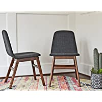 Edloe Finch EF-Z4-DC008 Dixie Mid Century Modern Upholstered Dining Chairs SET OF 2, Grey Fabric
