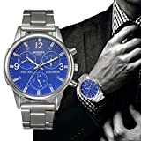 FAPIZI Clearance✿{Crystal Watch}Mens Luxury/Fashion/Stainless Steel Analog/Quartz Wrist Watch (Blue)
