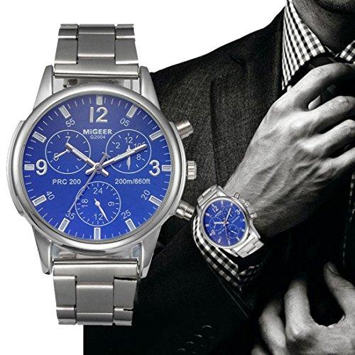FAPIZI Clearance✿{Crystal Watch}Mens Luxury/Fashion/Stainless Steel Analog/Quartz Wrist Watch ()