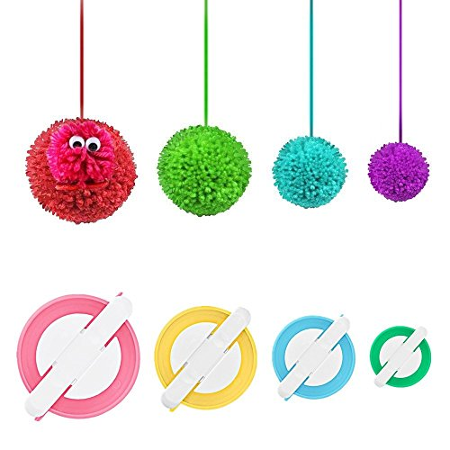 4 Sizes Pompom Pom-pom Maker for Fluff Ball Weaver Needle Craft DIY Wool Knitting Craft Tool Set Decoration By (Small Pom Pom Maker)