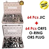 Amazing Product USA 64 Pcs Lot JIC Hydraulic Adapter + 64 Pcs Lot ORFS O-RING ORS Plug & Cap Flat Face Hydraulic Fitting Seal Kit Set Brand New Best Value Pack
