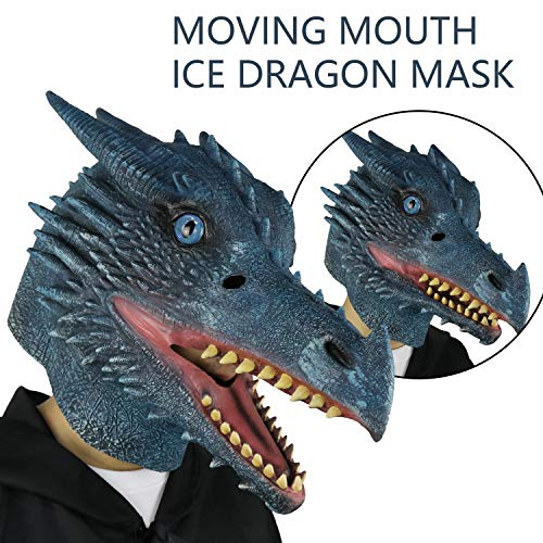 LarpGears Halloween Costume Latex Moving Mouth Mask Animal Dragon Mask for Cosplay (Ice Dragon) -