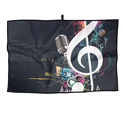 Ancharpin Music Notation Unisex Soft Waffle Towel Microfiber Cooling Casual Portable Golf Towel Sports Towel 38X60cm