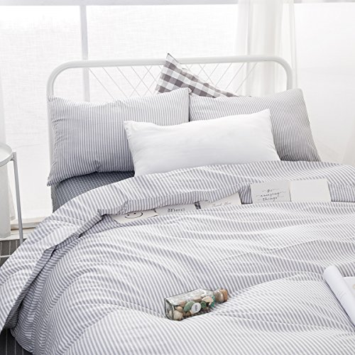 Wake In Cloud Gray White Striped Duvet Cover Set, 100% Cotton Bedding, Grey Vertical Ticking Stripes Pattern Printed on White, with Zipper Closure (3pcs, Twin Size)