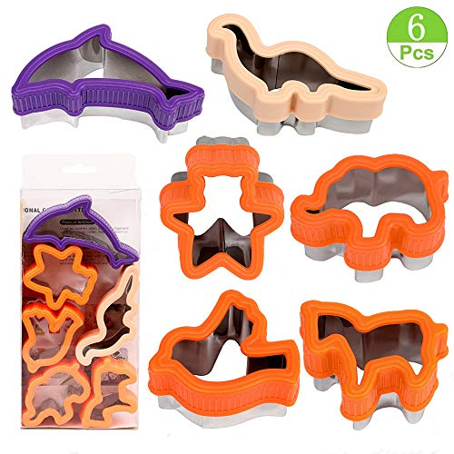 - Animal Cookie Cutters - Dinosaur,Bear,Elephant,Horse,Bird,Dolphin Cookie Mold,Fruit & Vegetable Sandwich Cutters for Kids - Stainless Steel