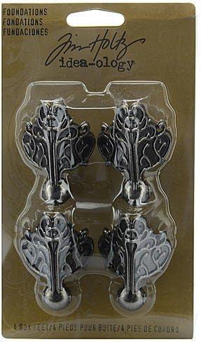 "Idea-Ology Metal Foundations Box Feet 1.5/""X2/"" 4//Pkg-Antique Nickel"