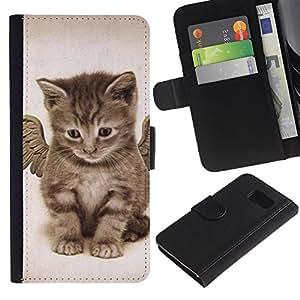 Billetera de Cuero Caso Titular de la tarjeta Carcasa Funda para Samsung Galaxy S6 SM-G920 / Angel Kitten Baby Maine Coon / STRONG