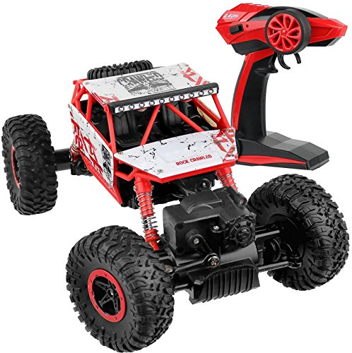 Click N' Play Remote Control Car 4WD Off Road Rock Crawler Vehicle 2.4 GHz, Red (Radio Control Truck Pulling)