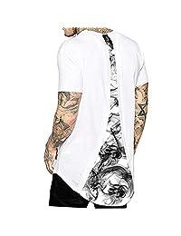 Azuki Men's Summer High Low Tops Drop Tail Shirts Elong Longline T-Shirts S/XL
