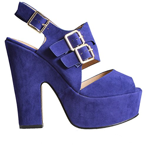 WOMENS BLOCK HIGH HEEL LADIES SHOES BUCKLE STRAP OPEN TOE GOLD ANKLE SIZE 3 Blue Suede X0CtOjOf